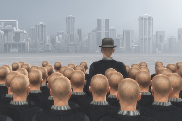 Crowd of people looking to a city and one of them stands out with a hat on. Out of the box concept. This is a 3d render illustration
